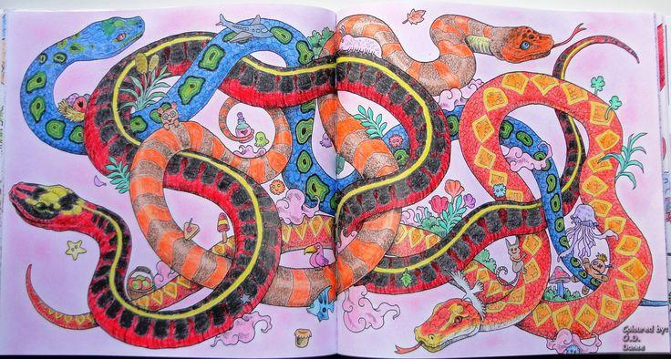 Animorphia - Kígyók Készült: Progresso és Aihao ceruzák Háttér: Colorino Artist Porpasztell  Animorphia - Snakes Coloured with Progresso and Aihao pencils Background: Colorino Artist Soft Pastels