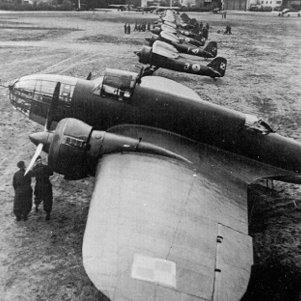 Polish PZL P 11 fighters and PZL P 37 Los bomber in February 1939. The P11 was the best fighter available to the Poles on the outbreak of war that September, and though obsolete performed well: there were simply not enough of the modern P 37 bombers in service.
