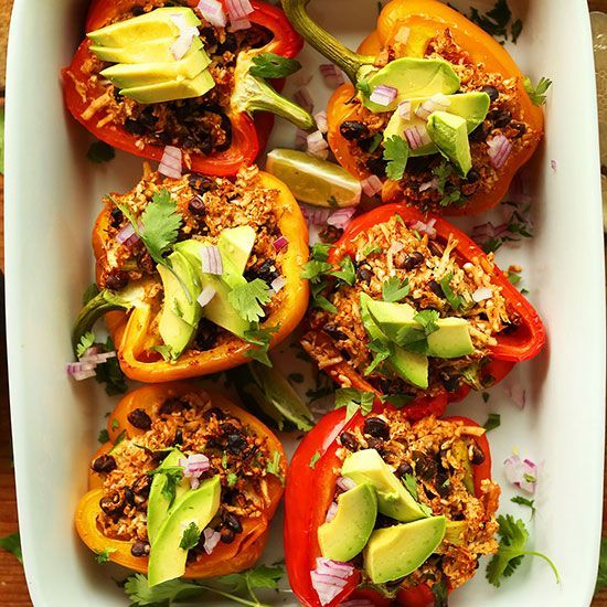 Cauliflower Rice Stuffed Peppers | Minimalist Baker | Bloglovin'
