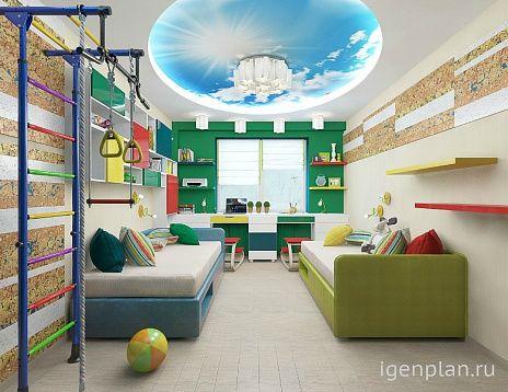 Детская для мальчика и девочки. Дизайнер: Виктория Лалетина #дизайнинтерьера #igenplan #дизайндетской  #интерьердетской