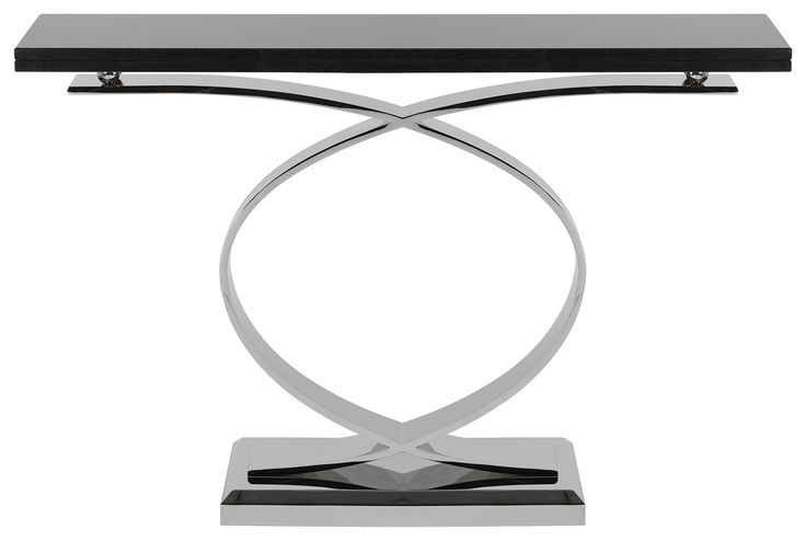 Zero free-standing console table. Polished stainless steel with stone top.