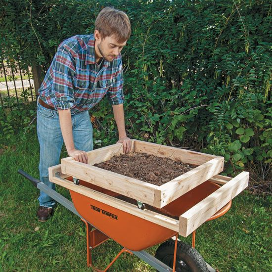 Learn how to make a soil sifter that takes the weight off your back with these plans for a wheeled sifting box in a frame.data-pin-do=