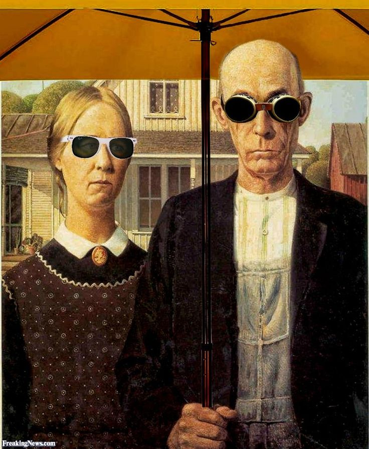 American Gothic Painting Wearing Sunglasses PaintingGrant Wood