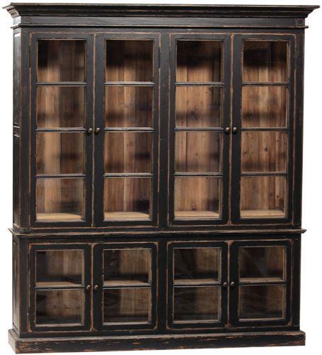DOV1067BK Spencer Cabinet Dovetail W 82 D 18 H 91 $5932.50 Reclaimed Pine Antique Black Finish #LargeCabinet #GlassFront #DarkFinish #7Foot