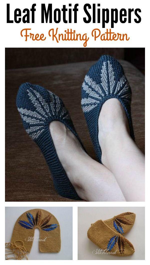 Leaf Motif Slippers Free Knitting Pattern