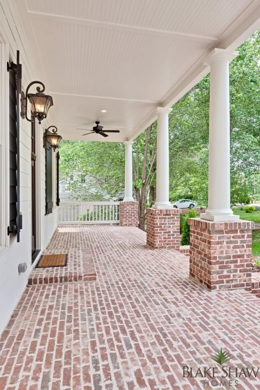 Ashford park custom home blake shaw homes atlanta for Brick porch designs for houses