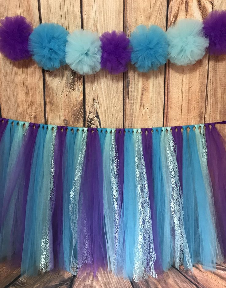 Little Mermaid Tulle Table Skirt, Little Mermaid Party, Mermaid Birthday Table  Skirt, Table Skirt Clips Included, Custom Colors Available