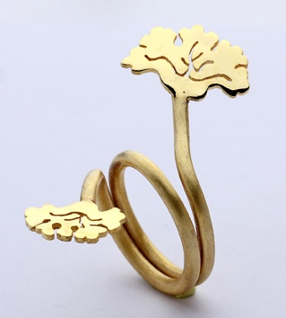 """""""Sır"""" Iznik collection 925 ct silver, 18ct gold plated ring"""