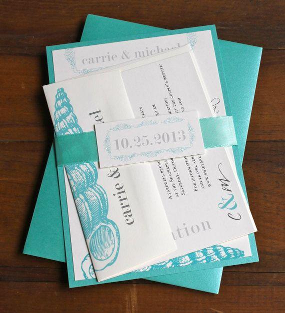 "Aqua Blue Destination Beach Wedding Invitations - ""Beach Romance Aqua Blue"" Deposit"