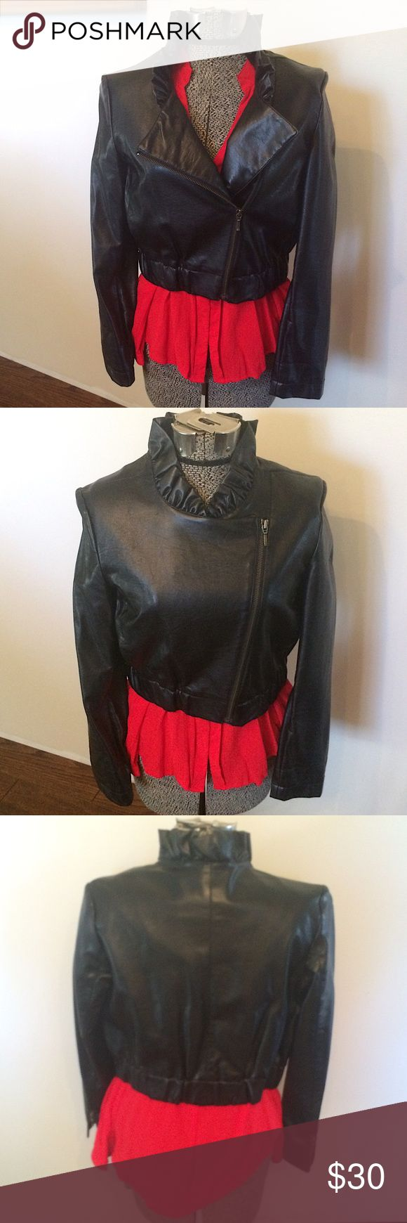 Black faux leather jacket size S Black faux leather jacket size S. Absolutely adorable on. Great condition. Shell: polyurethane fabric: 100% rayon lining: 100% polyester. Hand wash cold. Pictures don't do it justice. Zipper detail on the front and wrists of sleeves. Elastic at waist. Jacket hit me at my mid section, I am 5'8. It isn't meant to hit at the hips. elle Jackets & Coats