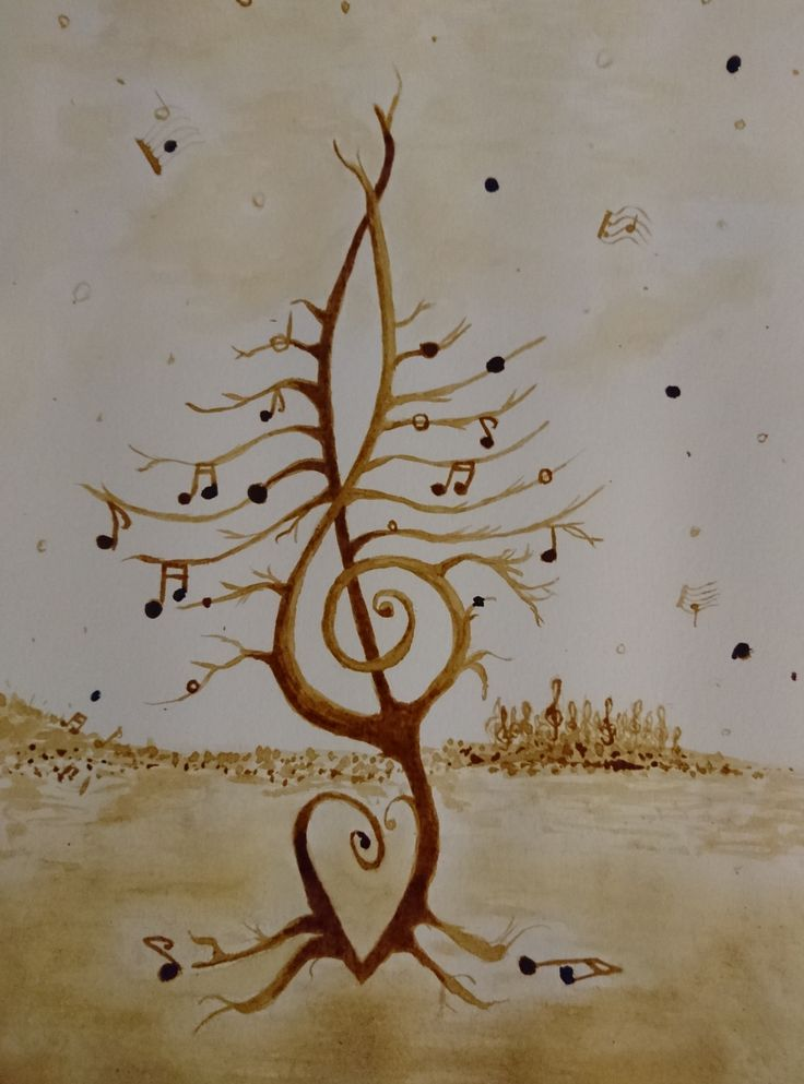 Music coffee painting #coffee #music #coffeepainting