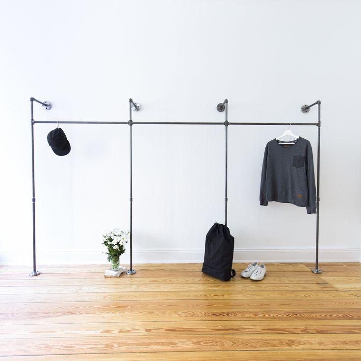 die besten 25 stahlrohr ideen auf pinterest kleideraufbewahrung offener schrank und. Black Bedroom Furniture Sets. Home Design Ideas