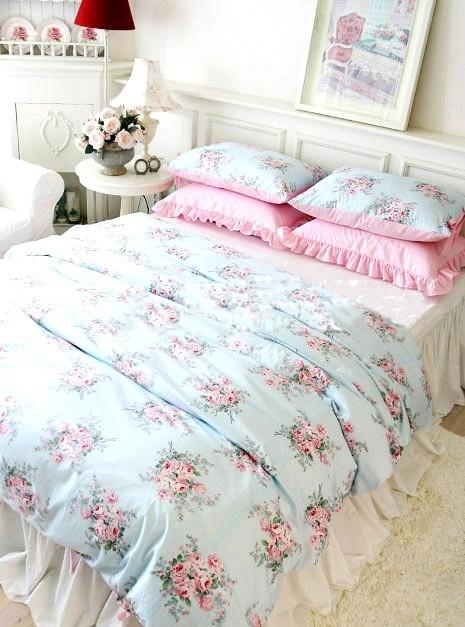 $22 The Korean ladies house style pastoral bedding fresh and elegant blue princess bedding a family of four Angel Beauty-ZZKKO