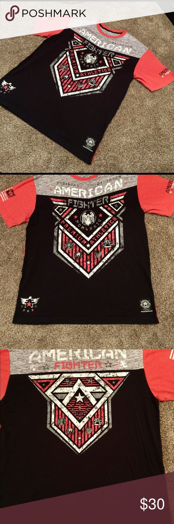 American Fighter T-shirt for men 2xlarge XXL American Fighter T-shirt Red gray white and black American Fighter Shirts Tees - Short Sleeve