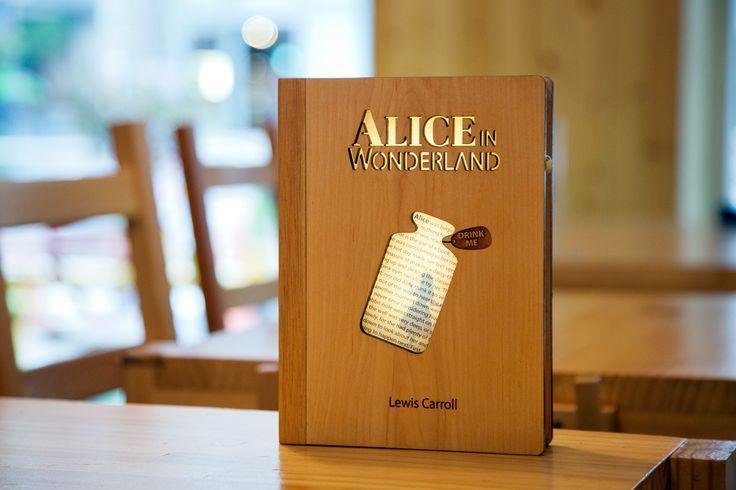 wooden book lamp, alice in wonder land