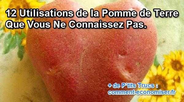 La pomme de terre est incroyable. Je découvre quotidiennement de nouvelles utilisations et astuces possibles avec elle. Que ce soit pour la santé, l'entretien du linge ou encore l'aide culinaire, elle est terriblement efficace...  Découvrez l'astuce ici : http://www.comment-economiser.fr/utilisations-pommes-de-terre.html?utm_content=bufferc5e60&utm_medium=social&utm_source=pinterest.com&utm_campaign=buffer
