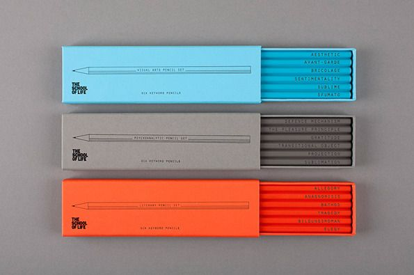 THE SCHOOL OF LIFE, EMBOSSED PENCILS: designed by alain de botton and morgwn rimel. the whole stationary range looks fantastic, but these are my favorite.