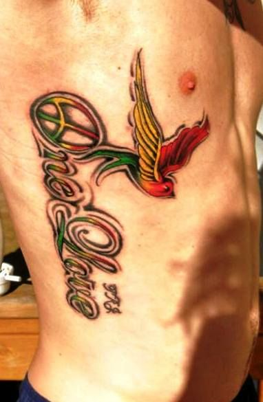 One Love tattoo  Peace symbol tattoo bird tattoo, sparrow tattoo, Jamaican rasta color tattoo