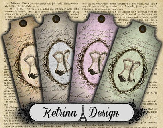 Shabby Chic Ephemera Corset Tags Labels Gift Tags by KetrinaDesign