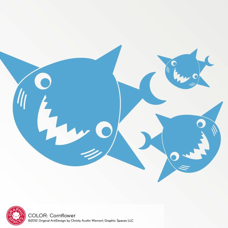 Happy Shark Family Decals Ocean Wall Stickers by graphicspaces