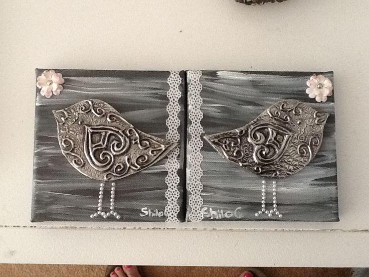 Pewter birds on canvas