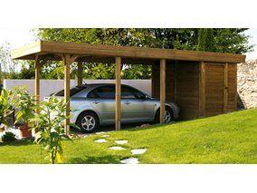Skan Holz Flachdach-Einzelcarport Profilschalung mit Abstellraum 315 cm x 713 cm