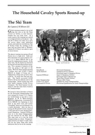 James Blunt in 'The Household Cavalry Journal' 2001-2002, page 79. Alpine Ski Team