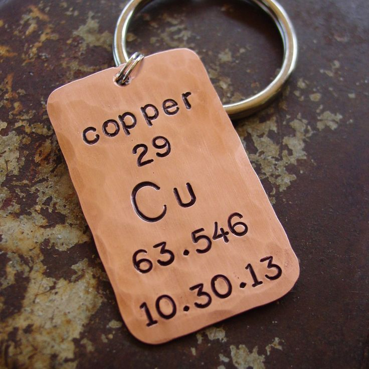 Seventh Anniversary Keychain,Copper Periodic Table, Copper Gift,7th Anniversary,Wedding Date Keychain,Hand Stamped,Husband Gift, Wife Gift by PearlieGirl on Etsy https://www.etsy.com/listing/166522849/seventh-anniversary-keychaincopper