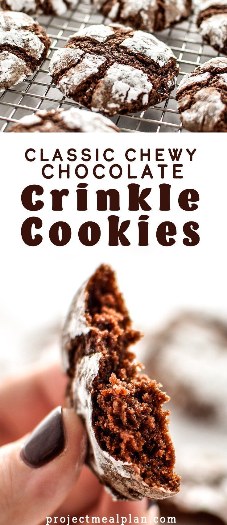 Classic Chewy Chocolate Crinkle Cookies - The chewiest, fudgiest, softest cookies that are rolled in powdered sugar and baked to perfection! - ProjectMealPlan.com #holidaycookies #chocolatecookies #crinklecookies