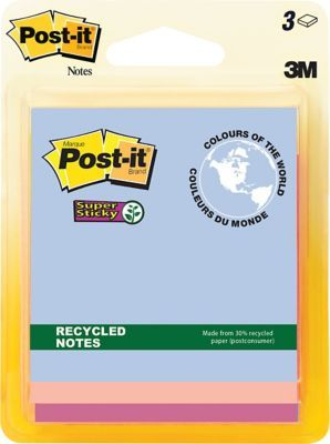 """Shop Staples® for Post-it® Super Sticky Recycled Notes, Bali Collection, 3"""" x 3"""", 3 pads/pack"""