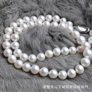 9-10mm Natural Pearl Necklace Perfect Circle Flawless Strong Light