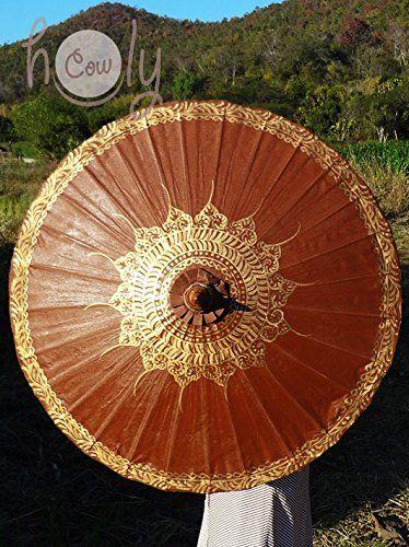 Hand Painted Brown Cotton Waterproof Umbrella.