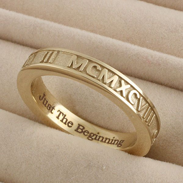 Stackable Raised Roman Numeral Ring with engraving in 14k gold