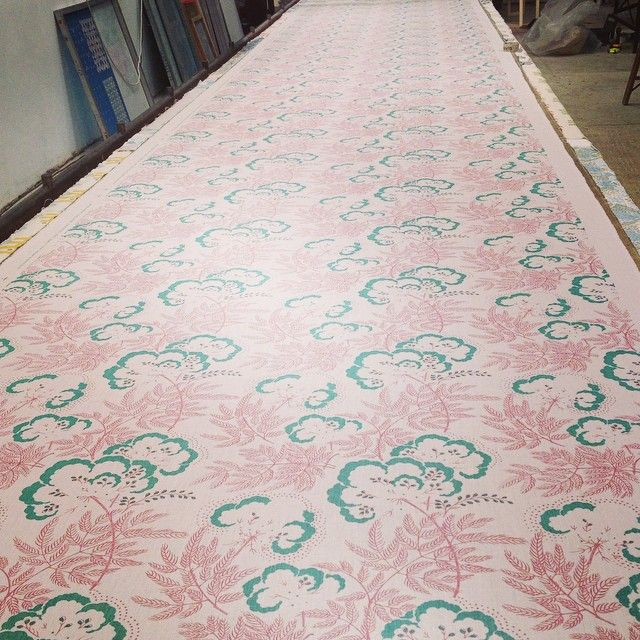 Just printed first run of our new Cloud Garden fabric by rapture and wright in time for the exhibition show at #comptonverney. Come and hear about how we designed and hand printed this and all our designs next Thursday @sofadotcom @raptureandwright