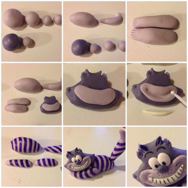 How to make Cheshire Cat from polymer clay or fondant.