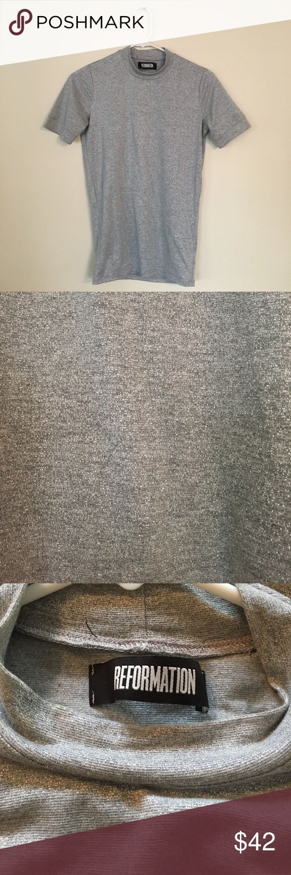 Reformation top Mock neck grey with silver stitching short sleeve top Reformation Tops Tees - Short Sleeve