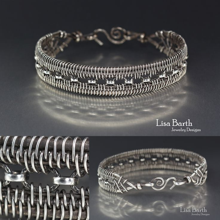 Hand woven bracelet in sterling silver.  - Lisa Barth