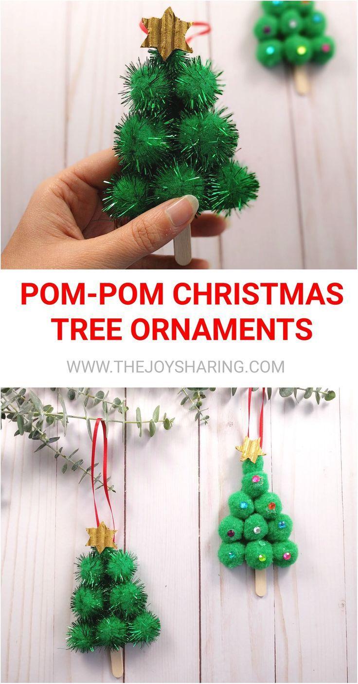 Pom Pom Christmas Tree Ornament Kids Christmas Ornaments Christmas Crafts For Kids Christmas Crafts