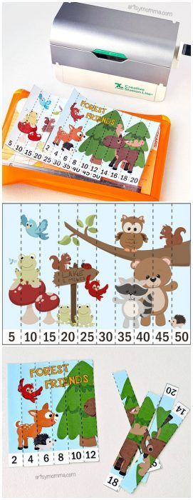 Forest or Woodland Animals Theme for Preschool or Kindergarten: Make skip counting by 2 & 5 fun with these free printable puzzles!