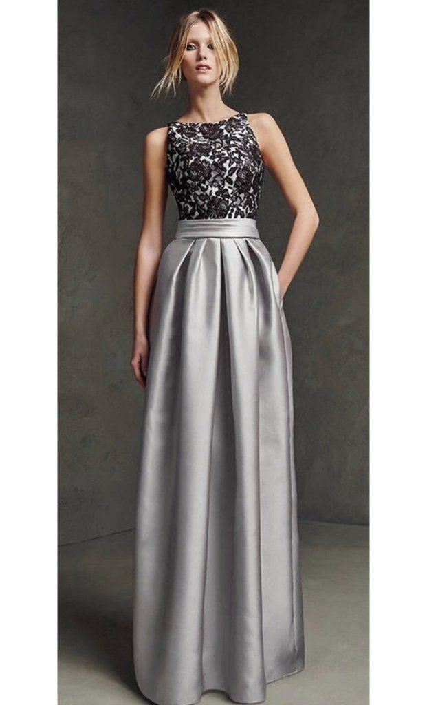 Grey Dupion silk pocket maxi skirt | Backless evening dress, Prom ...