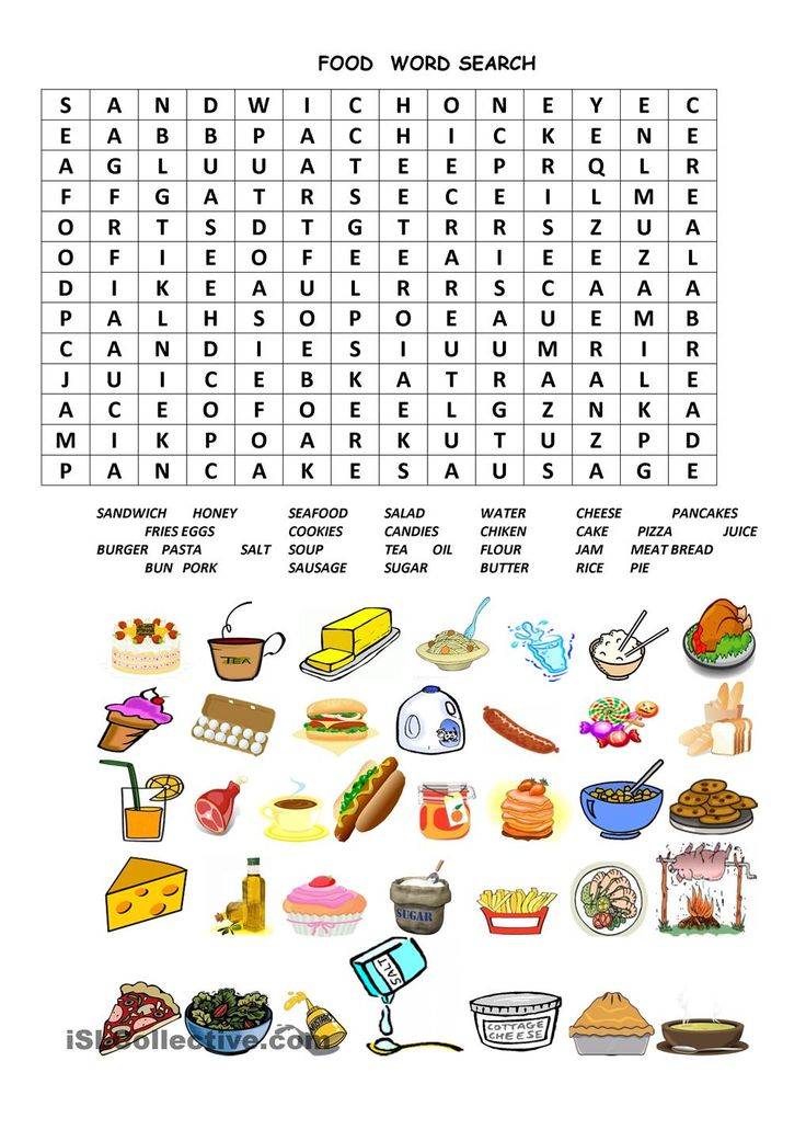 Restaurant Food Spanish Word Search