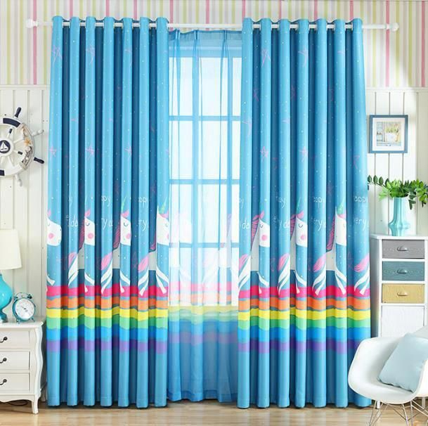 The Blue Colored Cute Unicorn Curtains For Kids Room丨boys Room
