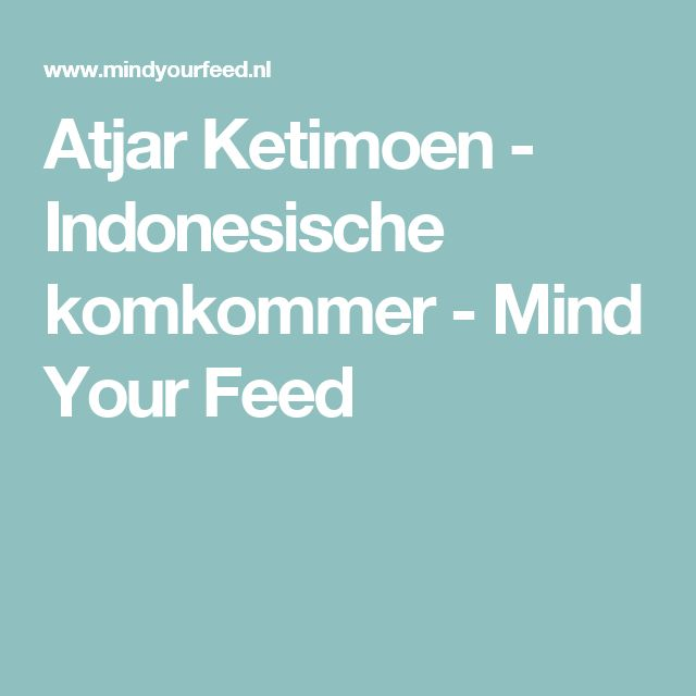 Atjar Ketimoen - Indonesische komkommer - Mind Your Feed
