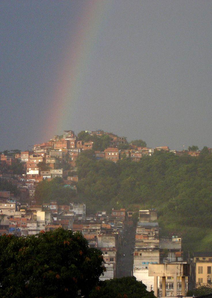 Rainbow over favela, Rio de Janeiro