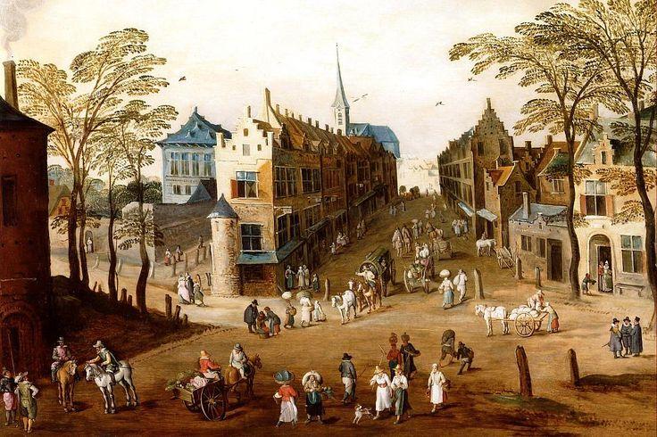 Jan Brueghel de Jonge (1601-1678) met Joos de Momper (1564-1635) Een stad met bewoners en karren in een winkelstraat