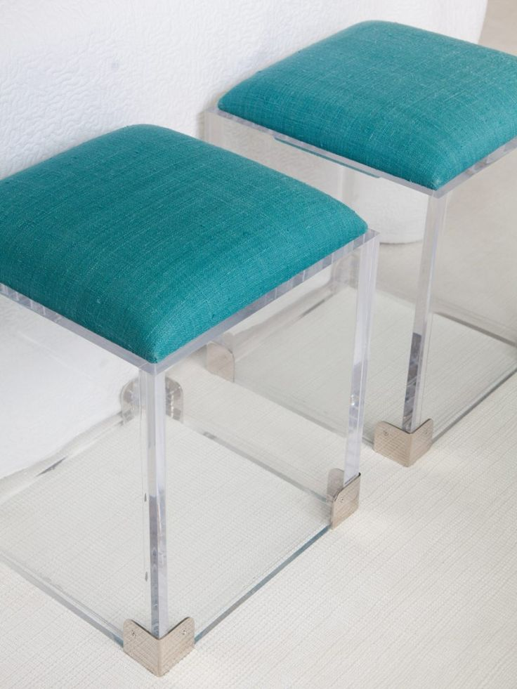 Upholstered Lucite Stools.  Love!