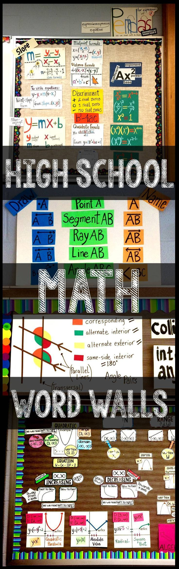 high school math word wall ideas for a classroom bulletin board. Photos from algebra, geometry and algebra 2 word walls showing vocabulary in context.