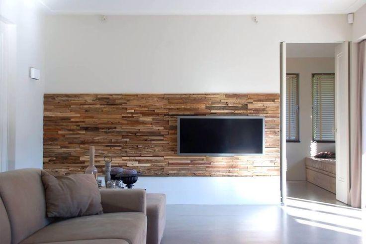 Partial wood wall behind TV