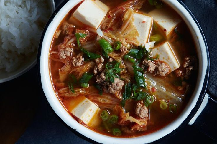 Kimchi Tofu Soup recipe on Food52 (this is good! And would be even without any pork, though perhaps not as velvety.  Wonderful with a poached egg.)