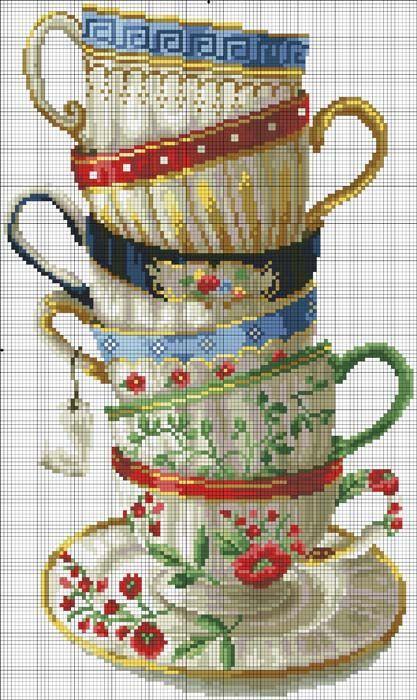 Tea cups cross stitch